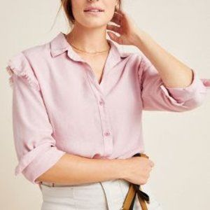 Anthropologie Pink Ruffled Button Down